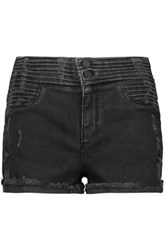 Rta Salvador Ribbed Stretch Denim Shorts Black