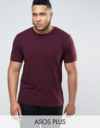 Asos Plus Muscle T Shirt In Oxblood Oxblood Red