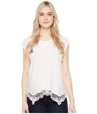 Dylan By True Grit Soft Slub Cotton Crochet Hem Tee White Tee Women's Short Sleeve Pullover