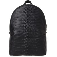 Alexander Mcqueen Rib Cage Leather Backpack Black