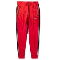 Amiri Slim Fit Tapered Leather Trimmed Tech Jersey Sweatpants Red