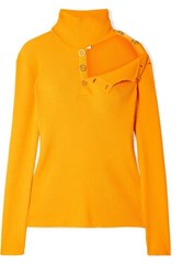 Dion Lee Cutout Ribbed Stretch Knit Turtleneck Sweater Marigold