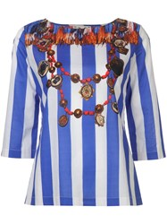 Figue Serafina Striped Blouse Women Cotton M Blue
