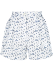 Jean Paul Gaultier Vintage Motor Bike Print Shorts White