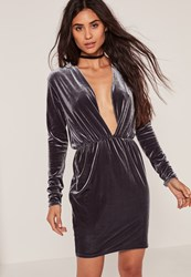 Missguided Long Sleeve Plunge Ruched Waist Velvet Dress Grey
