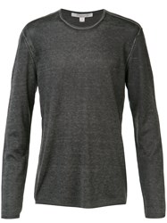 John Varvatos Reverse Print Long Sleeve Sweater Grey