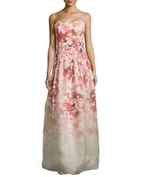 Kay Unger New York Strapless Floral Print Ball Gown Pink Multi