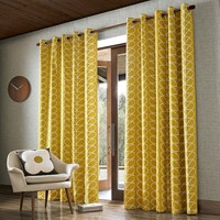 Orla Kiely Linear Stem Eyelet Curtains Dandelion Yellow