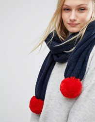 Tommy Hilfiger Knitted Scarf With Detachable Pom In Two Colours Navy Blazer