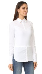 Skinnyshirt French Cuff Long Sleeve Shirt With Tails White