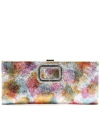 Roger Vivier Pilgrim Small Embellished Leather Clutch Metallic