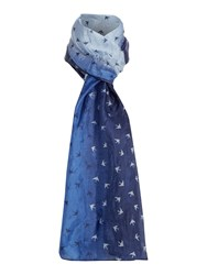 Dickins And Jones Swalloq Ombre Silk Scarf Blue