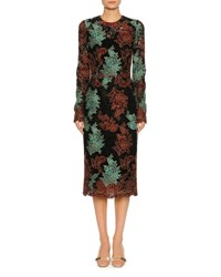 Dolce And Gabbana Lace Embroidered Long Sleeve Cocktail Dress Black Pattern