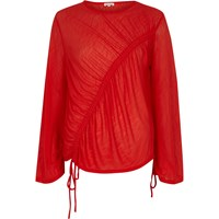 River Island Womens Red Asymmetric Ruched Drawstring Top