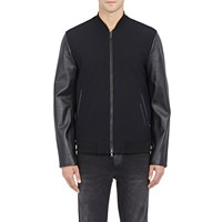 Vince Twill And Leather Bomber Jacket Navy