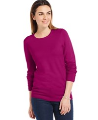 Jm Collection Crew Neck Solid Button Sleeve Sweater Magenta Quartz