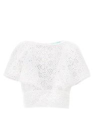 Melissa Odabash Kristal Belted Broderie Anglaise Cotton Top White