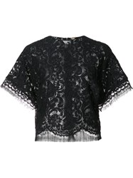 Adam By Adam Lippes Cropped Lace T Shirt Blue