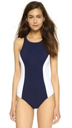 Tory Burch Color Block Swimsuit Tory Navy White