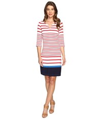 Hatley Peplum Sleeve Dress Red Sail Stripe Navy Color Block Women's Dress