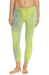 Hard Tail Flat Waist Capri Leggings Swirl Lime Green Light Blue