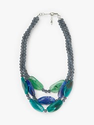 One Button Chunky Bead Triple Row Layered Statement Necklace Blue Multi