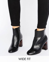 Asos Erin Wide Fit Heeled Ankle Boots Black