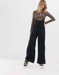 Reclaimed Vintage Inspired Trousers With Braces In Pinstripe Black