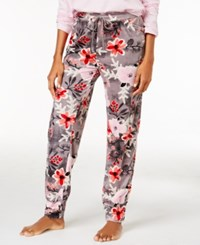 Hue Printed Velour Cuffed Pajama Pants Holiday Berries
