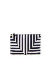 Clare V. Patchwork Flat Clutch Navy