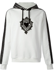Dolce And Gabbana Applique Heart Emblem Hoodie White