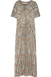 Raquel Allegra Tie Dyed Cotton Blend Jersey Maxi Dress Mushroom