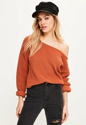 Missguided Orange Off Shoulder Cropped Sweater Brown