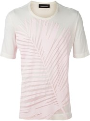 Diesel Black Gold Feather Print T Shirt Pink And Purple