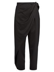 Issey Miyake Wrap Side Wool Twill Trousers Black