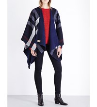 Burberry Charlotte Reversible Wool Cape Navy