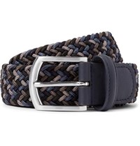 Andersons Anderson's 3.5Cm Storm Blue Leather Trimmed Woven Elastic Belt Storm Blue