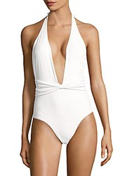 6 Shore Road The Sea Solid Halterneck One Piece Swimsuit White