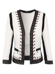 Morgan Two Toned Leather Effect Cropped Jacket Winter White