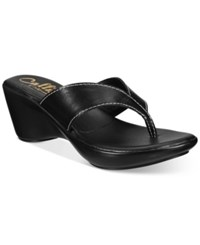 Callisto Athena Alexander By Abby Thong Wedge Sandals Women's Shoes Black