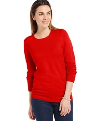 Jm Collection Crew Neck Solid Button Sleeve Sweater New Red Amore