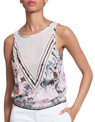 Plenty By Tracy Reese Floral Printed Sleeveless Top White Multicolor