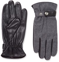Dents Flannel And Leather Gloves Gray