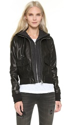 R 13 Hooded Leather Flight Jacket Black With Charcoal Knit