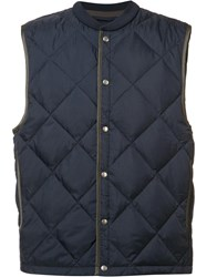 Vince Snap Fastening Quilted Gilet Blue