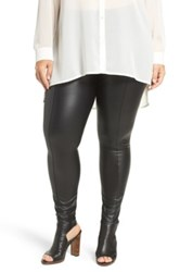Lysse High Waist Faux Leather Leggings Plus Size Black