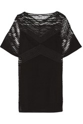 Dkny Cutout Cotton Mesh Mini Dress Black