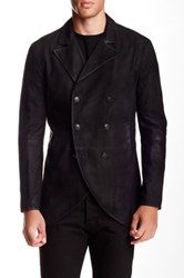 John Varvatos Double Breasted Genuine Goat Suede Jacket Black
