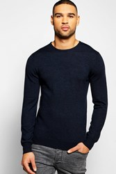 Boohoo Crew Neck Merino Wool Jumper Navy