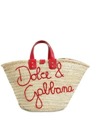 Dolce And Gabbana Kendra Embroidered Logo Raffia Tote Bag Natural